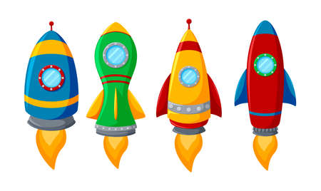 Set of colorful rocket isolated on white background