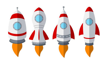 Set of rocket ship isolated on white background  イラスト・ベクター素材