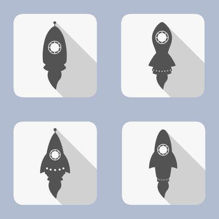 Rocket icons set on white background