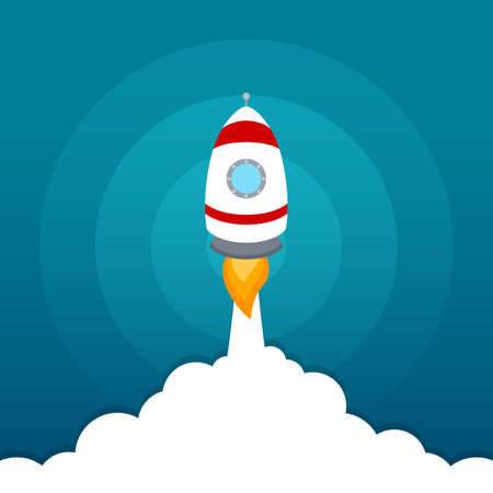 Rocket launch icon on blue sky background