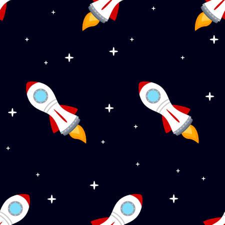 Rocket space ship seamless pattern Illustration