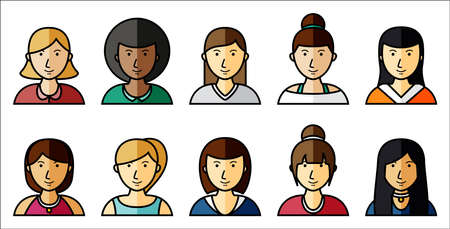 Vector illustration of Set of women icons with hairstyle in flat style