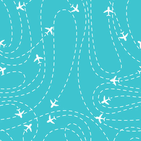 Vector illustration of Airplane routes icon on a blue background