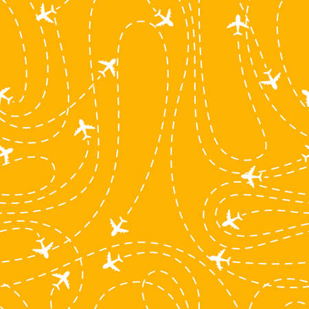 Vector illustration of Airplane routes icon on a yellow background