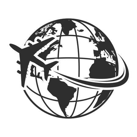 Ilustración de vector de iconos de viaje con avión volar alrededor de la tierra
