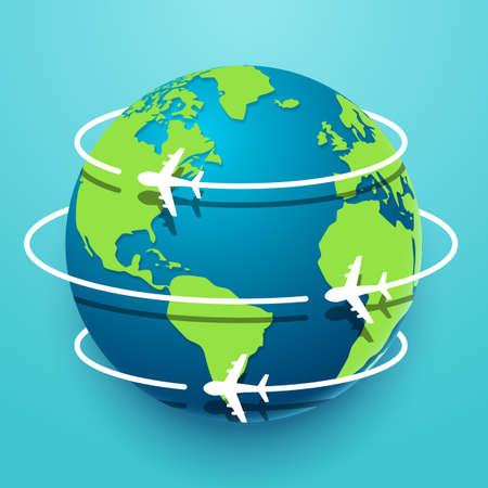 Vector illustration of Time to travel explore the world with aircraft