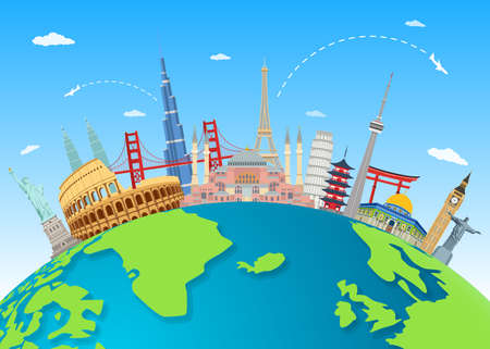 Vector illustration of Explore the world with famous architectural landmarks Stock Illustratie