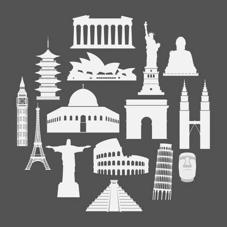 Vector illustration of Travel landmarks icon set in paper style