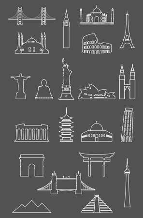 Vector illustration of Travel landmarks icon set with thin line style
