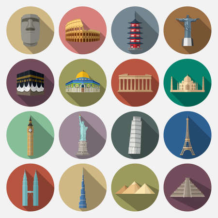 Vector illustration of Travel landmarks icon set