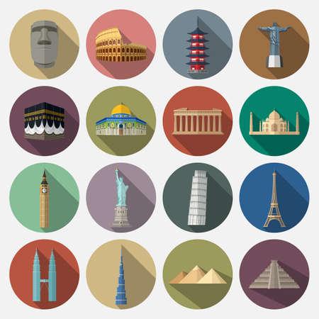 Vector illustration of Travel landmarks icon set