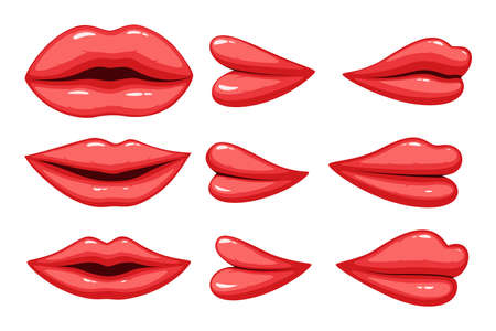 Vector illustration of Set of collection lips different