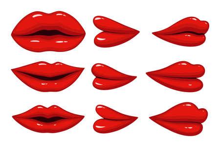 Illustration vectorielle de l'ensemble des lèvres de collection différentes Vecteurs