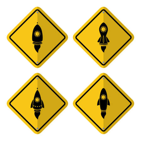 Warning sign icon with a rocket launch