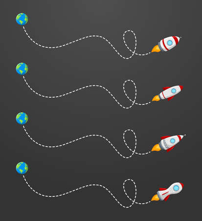 Vector illustration of Flying rocket with a dotted line route