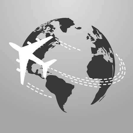 Vector illustration of Travel icon with airplane fly around the world