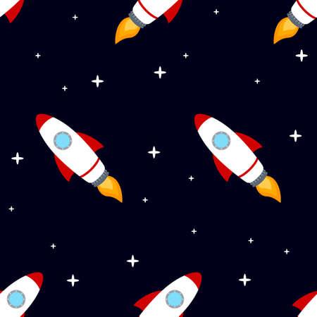 Rocket space ship seamless pattern Stock Photo