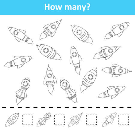Counting game for preschool children. Count how many rocket ship objects Stock Photo