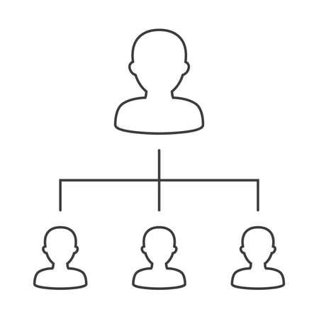 Illustration vectorielle de l'organigramme de l'entreprise avec des icônes de gens d'affaires