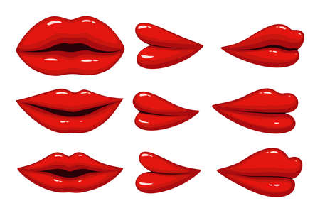 Set of collection lips different