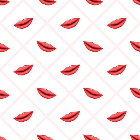 Seamless pattern pink lips on striped background