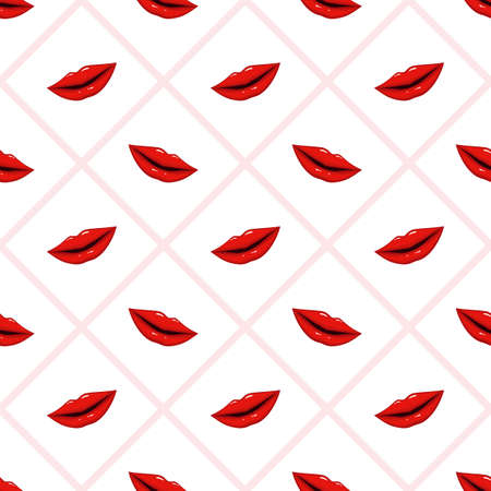 Seamless pattern red lips on striped background