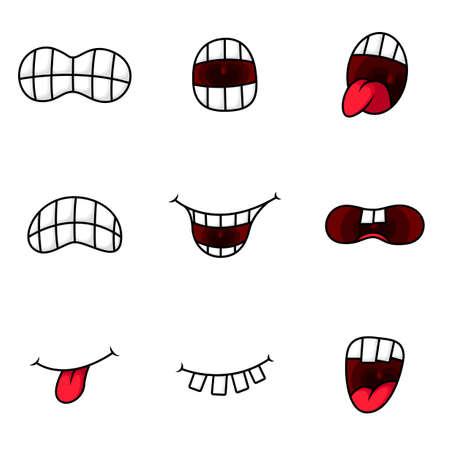 Vectorillustratie van grappige cartoon mond met verschillende uitdrukkingen