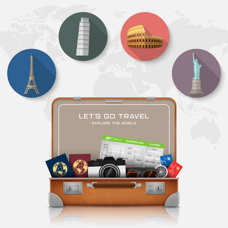 Vector illustration of Open suitcase with landmarks and vacation luggage accessories