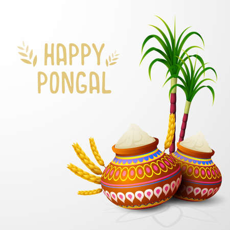 Vector illustration of Happy Pongal greeting card on white background