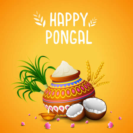 Vector illustration of Happy Pongal greeting card on orange background