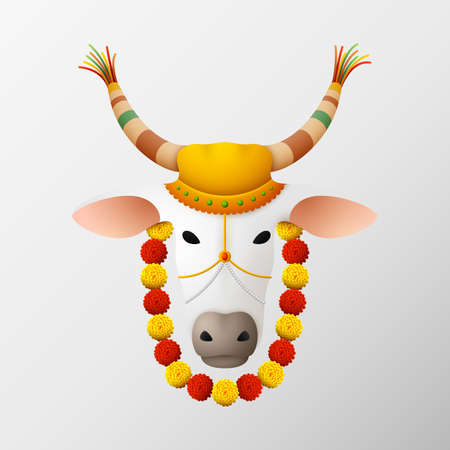 Vector illustration of Happy Pongal with decorated cow