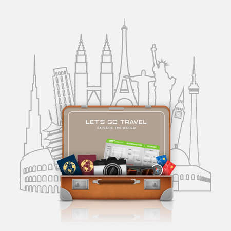 Open suitcase with vacation luggage accessories Ilustração