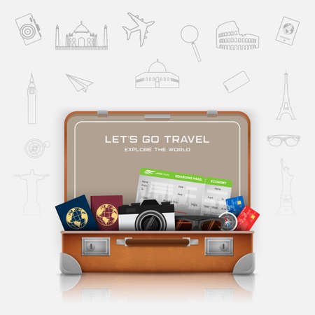 Open suitcase with vacation luggage accessories Vectores