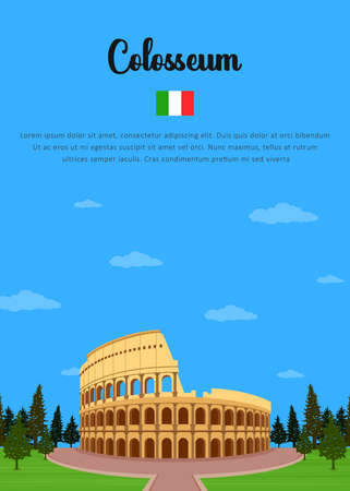 Colosseum in Italy Illustration
