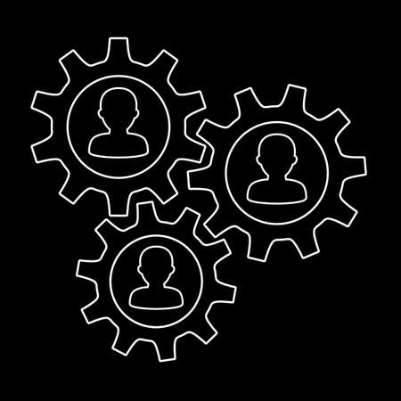 Teamwork concept with people icons in gear mechanism
