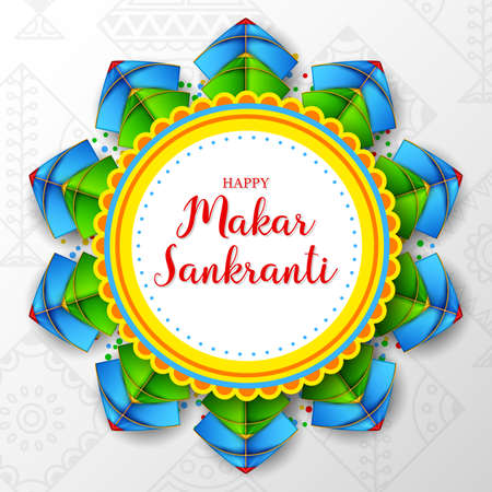 Makar sankranti greeting card with round paper and colorful kites