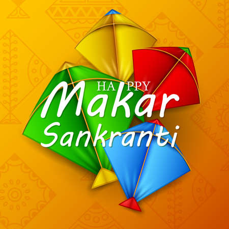 Makar sankranti greeting card with colorful kites Illustration