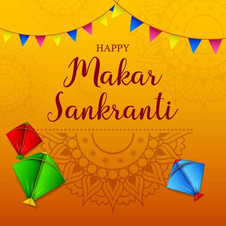 Makar sankranti greeting card with colorful kite