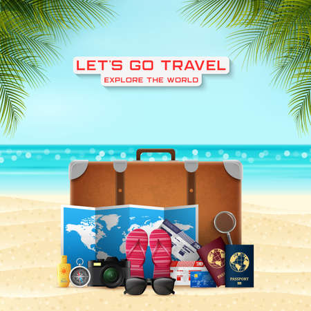 Suitcase with vacation luggage accessories