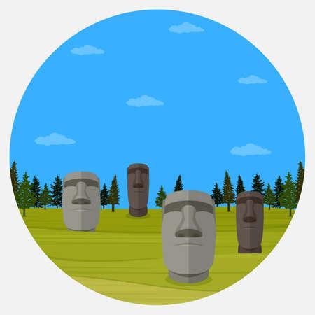 Moai statues of Easter island landscape Polynesia