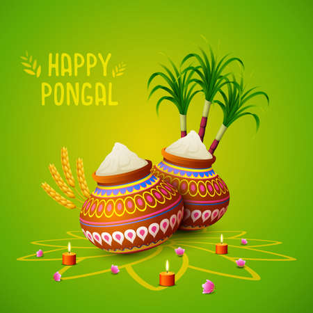 Happy Pongal greeting card on green background
