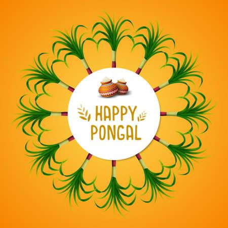 Happy Pongal greeting card on orange background Stock Photo