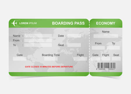 Green airline boarding pass ticket Stock Photo