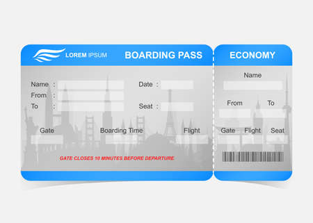 Blue airline boarding pass ticket Stock Photo