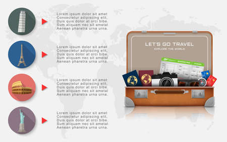 Open suitcase with landmarks and vacation luggage accessories