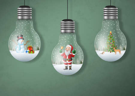 Christmas greeting card with hanging light bulbs
