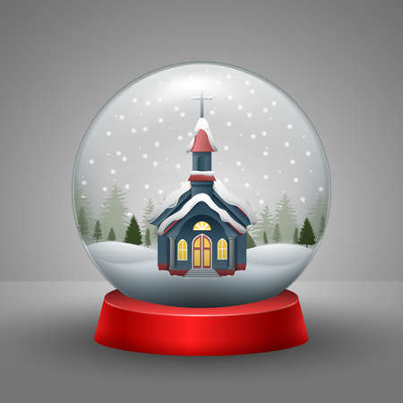 Vector illustration of Christmas card with church in the snow globe