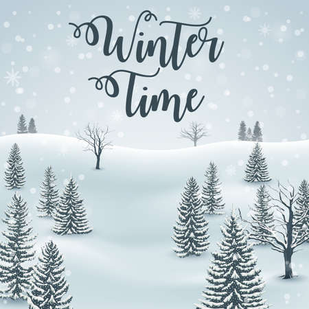 Vector illustration of Happy Winter with Forest Landscape Background Illusztráció