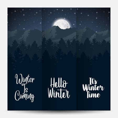 Vector illustration of Three banner landscape winter evening forest Illustration
