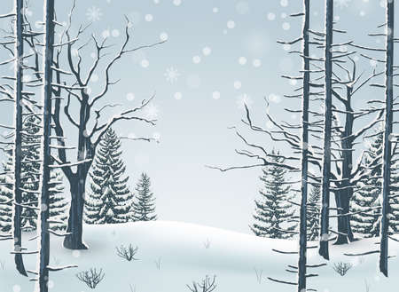 Vector illustration of Happy Winter with Forest Landscape Background Illustration